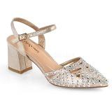 Beige glitter 7 cm Fabulicious FAYE-06 sandalen met naaldhak