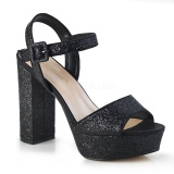 Black 11,5 cm CELESTE-09 glitter platform sandals with block heels