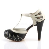 Black 11,5 cm retro vintage BETTIE-25 Pinup pumps with hidden platform
