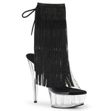 Black 15 cm DELIGHT-1017TF womens fringe ankle boots high heels