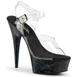 Black 15 cm Pleaser DELIGHT-608MG glitter high heels shoes