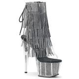 Black 18 cm ADORE-1017SRS womens fringe ankle boots high heels