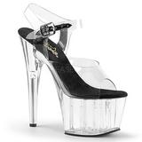 Black 18 cm ADORE-708 High Heels Acrylic Platform