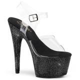 Black 18 cm BEJEWELED-708DM rhinestone platform high heels
