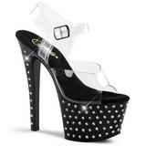 Black 18 cm Pleaser STARDUST-708 High Heels Platform