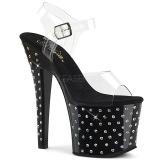 Black 18 cm RADIANT-708SDT rhinestone platform high heels