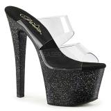 Black 18 cm SKY-302MG glitter platform mules womens