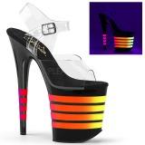 Black 20 cm FLAMINGO-808UVLN High Heeled Sandal Neon Platform