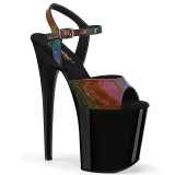 Black 20 cm FLAMINGO-809RBDT Hologram platform high heels shoes