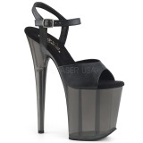 Black 20 cm FLAMINGO-809T Acrylic platform high heels shoes