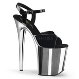 Black 20 cm Pleaser FLAMINGO-809 High Heels Chrome Platform