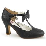Black 7,5 cm FLAPPER-11 Pinup Pumps Shoes with Low Heels