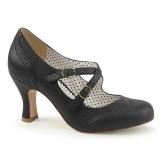 Black 7,5 cm retro vintage FLAPPER-35 Pinup Pumps Shoes with Low Heels