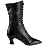 Black 7 cm VICTORIAN-120 Lace Up Ankle Calf Women Boots