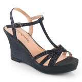 Black 8 cm SILVIE-20 Women Wedge Sandals