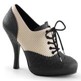 Black Beige 11,5 cm retro vintage CUTIEPIE-14 Oxford Pumps Shoes Flat Heels