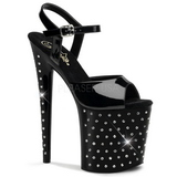 Black Crystal Stone 20 cm STARDUST-809 Platform High Heels Shoes