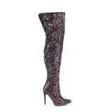 Black Glitter 13 cm COURTLY-3015 Pleaser Overknee Boots