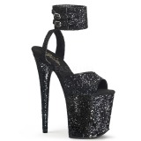 Black Glitter 20 cm Pleaser FLAMINGO-891LG High Heels Platform