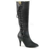 Black Leatherette 10 cm DREAM-2026 big size boots womens