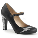 Black Leatherette 10 cm QUEEN-02 big size pumps shoes