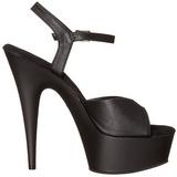 Black Leatherette 15 cm DELIGHT-609 High Heel Platform
