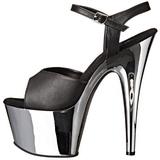 Black Leatherette 18 cm ADORE-709 Chrome Platform High Heel