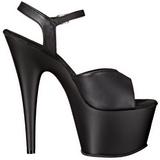 Black Leatherette 18 cm ADORE-709 Platform High Heels Shoes