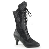 Black Leatherette 7,5 cm DIVINE-1050 big size ankle boots womens