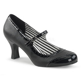 Black Leatherette 7,5 cm JENNA-06 big size pumps shoes