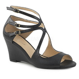 Black Leatherette 7,5 cm KIMBERLY-04 big size sandals womens