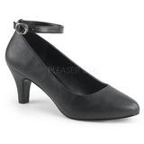 Black Leatherette 8 cm DIVINE-431W Women Pumps Shoes Flat Heels