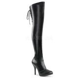 Black Leatherette Wide Calf 12,5 cm EVE-312 Overknee Boots