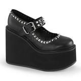 Black Matte 14 cm SWING-03 Platform Wedge Pumps Heels
