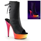 Black Matte 15,5 cm RAINBOW-1018U Neon Platform Ankle Calf Boots