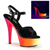 Black Patent 15 cm RAINBOW-209UV High Heeled Sandal Neon Platform