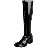 Black Patent 5 cm RETRO-300 High Heeled Women Boots