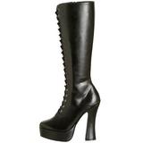 Black Pu 13 cm Pleaser ELECTRA-2020 Platform Knee Boots