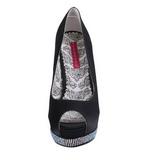 Black Satin 13,5 cm BELLA-12R Rhinestone Platform Pumps Shoes