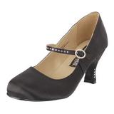 Black Satin 8 cm FLAPPER-20 Women Pumps Shoes Flat Heels