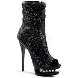 Black Sequins 15,5 cm BLONDIE-R-1008 Platform Ankle Calf Boots
