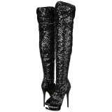 Black Sequins 15 cm PLEASER BLONDIE-R-3011 Platform Over Knee Boots