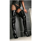 Black Shiny 13 cm SEDUCE-4010 High Heeled Overknee Boots
