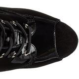 Black Shiny 15 cm DELIGHT-1033 Open Toe Platform Ankle Calf Boots