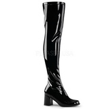 Black Shiny 8 cm GOGO-3000 Thigh High Boots for Men
