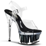 Black Transparent 16,5 cm SPIKY-608MG Platform Stiletto High Heels