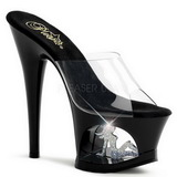 Black Transparent 18 cm Pleaser MOON-701TG Platform High Mules