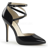 Black Varnish 13 cm AMUSE-25 High Heeled Evening Pumps Shoes