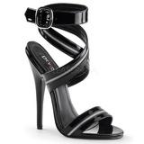 Black Varnish 15 cm DOMINA-119 Womens High Heels Sandals