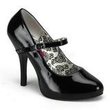 Black Varnished 12 cm rockabilly TEMPT-35 Pumps with low heels